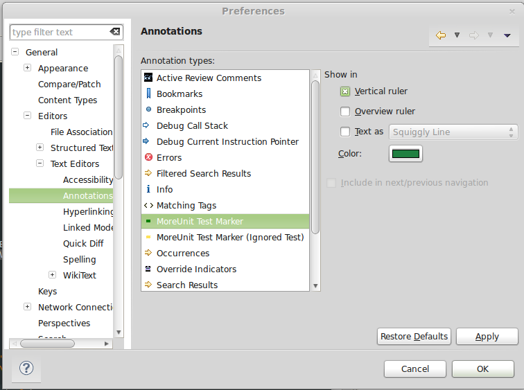 Annotation preferences