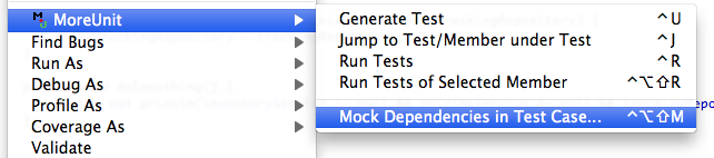 Menu action: Mock Dependencies